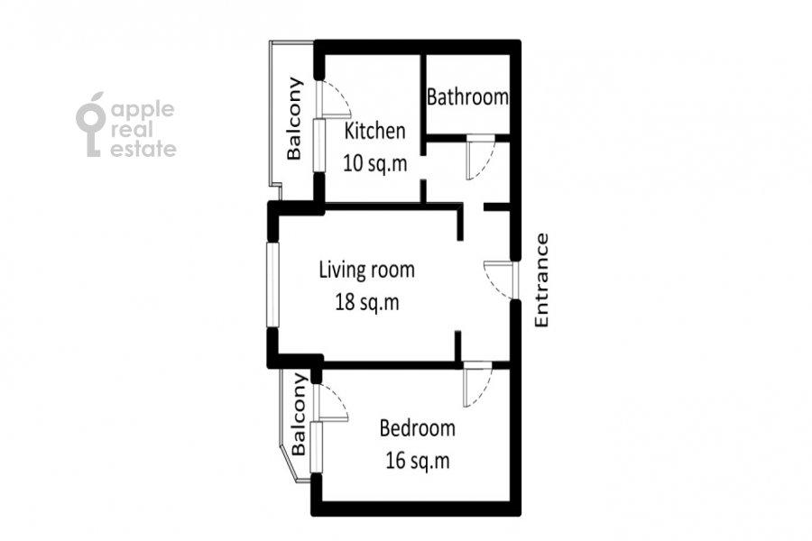 Floor plan of the 2-room apartment at Volzhskiy bul'v. 11