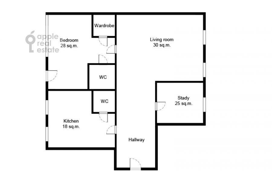 Поэтажный план 3-комнатной квартиры по адресу Даев пер. 33