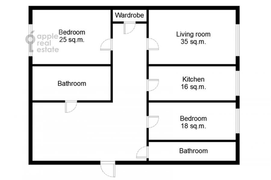 Поэтажный план 3-комнатной квартиры по адресу Бронная Малая ул. 44