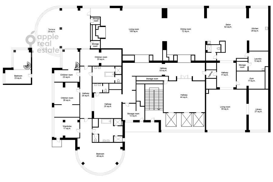 Поэтажный план 6-комнатной квартиры по адресу Иваньковское шоссе 5