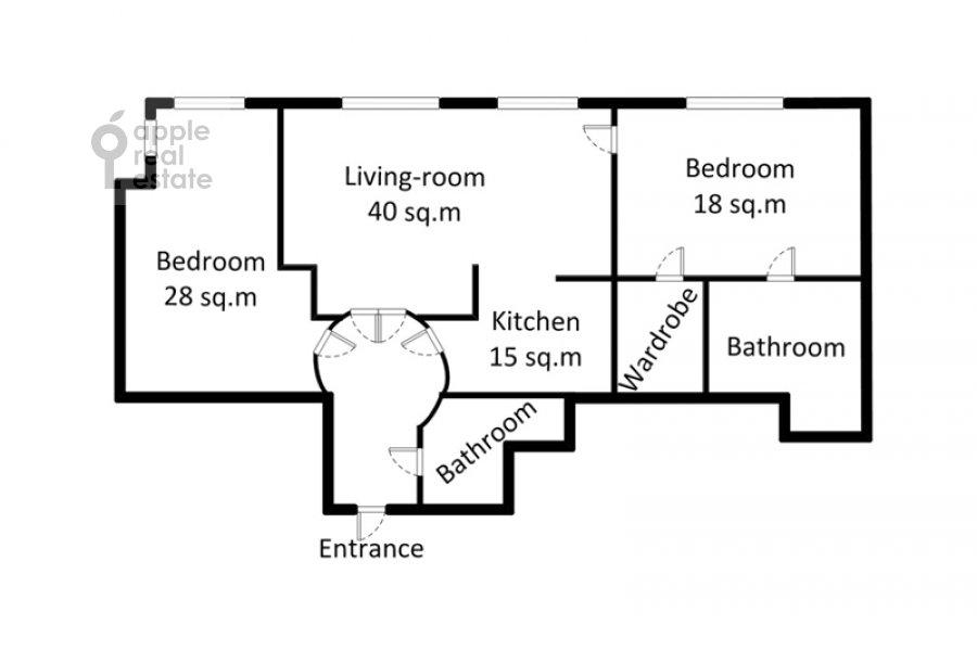 Floor plan of the 3-room apartment at Marshala Sokolovskogo 5