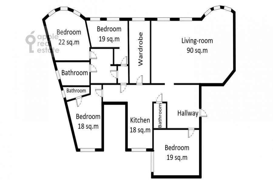 Floor plan of the 5-room apartment at Prechistenka ul. 27
