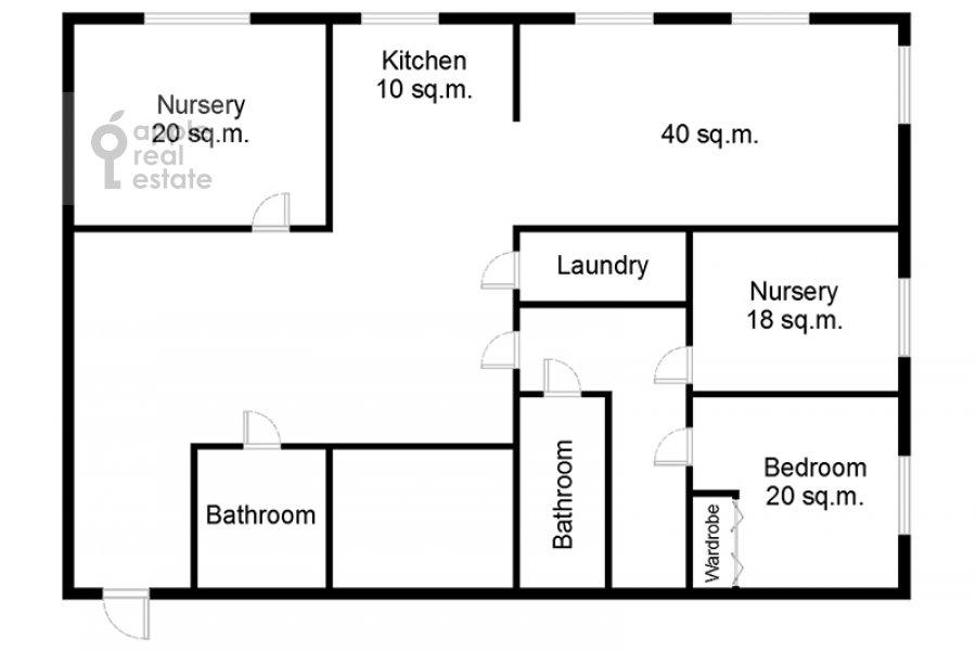 Floor plan of the 4-room apartment at Marshala Biryuzova 32k1