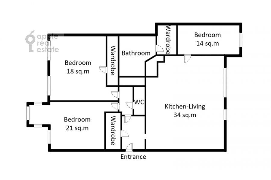 Поэтажный план 4-комнатной квартиры по адресу Армянский переулок 1/8с1