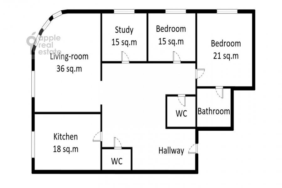 Floor plan of the 4-room apartment at Bol'shaya Polyanka ul. 43 str 3