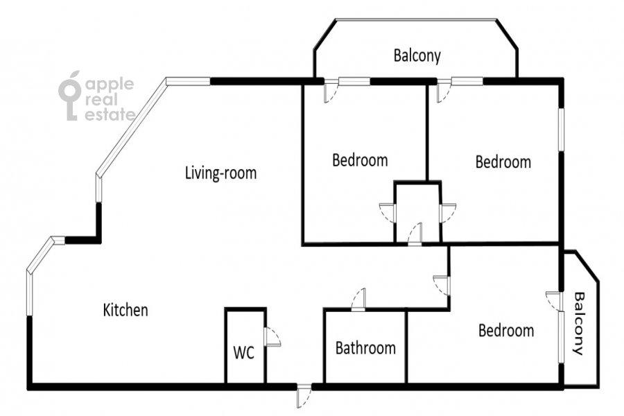 Поэтажный план 4-комнатной квартиры по адресу Ярцевская ул. 32