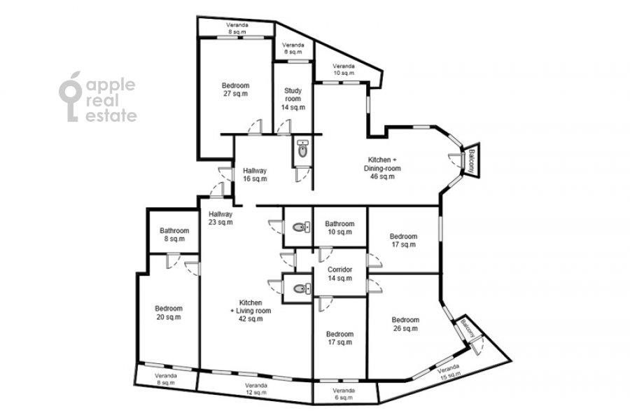Floor plan of the 6-room apartment at Akademika Pilyugina 24k1