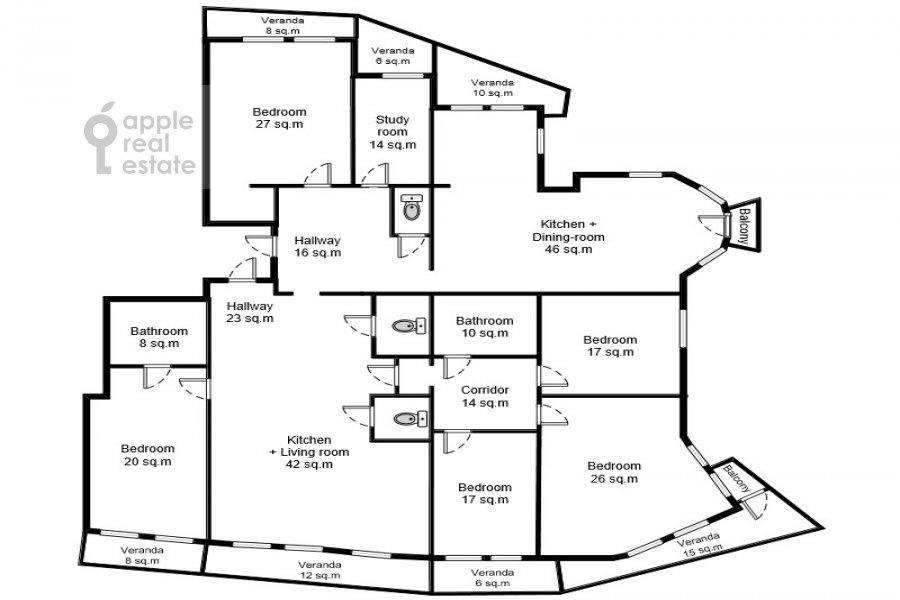 Поэтажный план 6-комнатной квартиры по адресу Академика Пилюгина 24к1