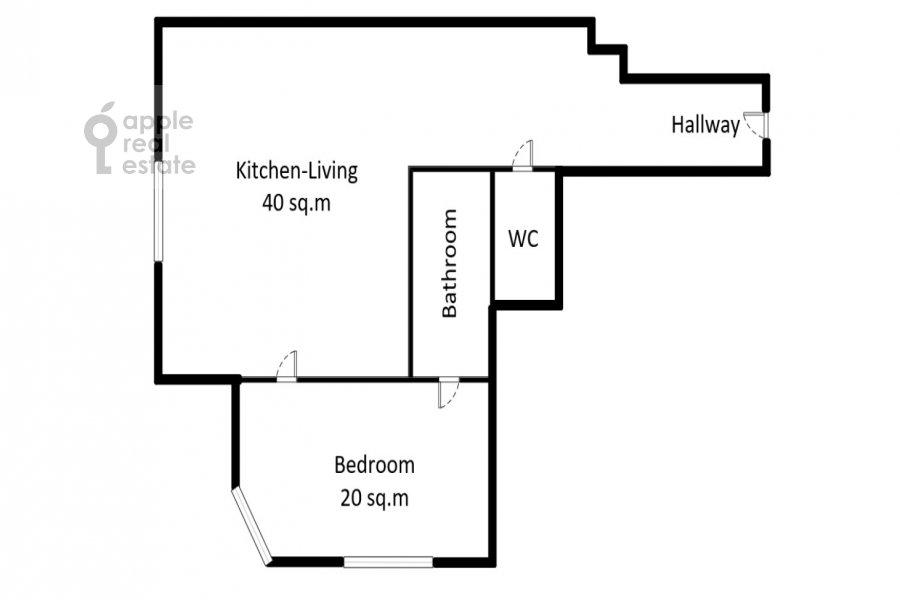 Floor plan of the 2-room apartment at Minskaya ul. 1Gk1