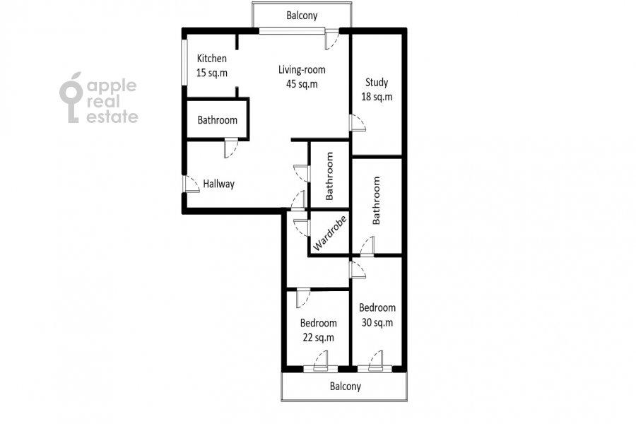 Поэтажный план 4-комнатной квартиры по адресу Мичуринский пр-т 6к3