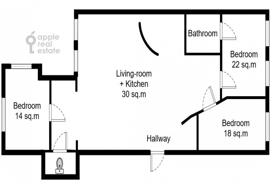 Floor plan of the 4-room apartment at Spiridonovka ul. 36s1