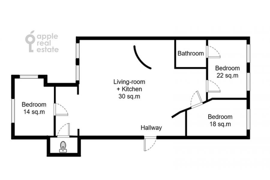 Floor plan of the 4-room apartment at Spiridonovka 36s1
