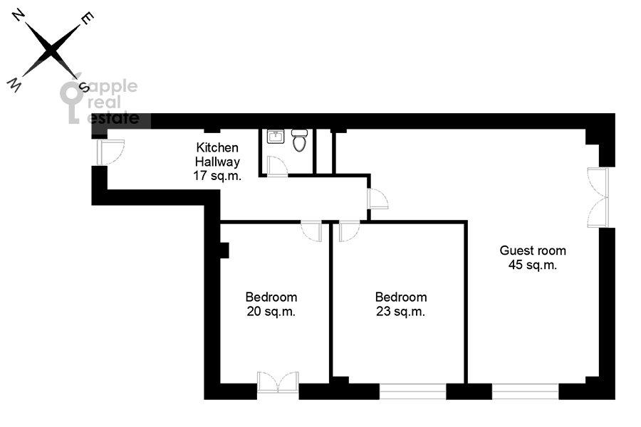 Floor plan of the 3-room apartment at Bol'shaya Sadovaya 5k1