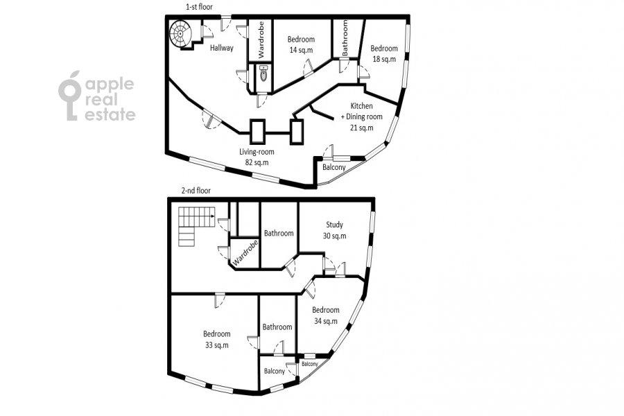 Поэтажный план 6-комнатной квартиры по адресу Мичуринский пр-кт 29