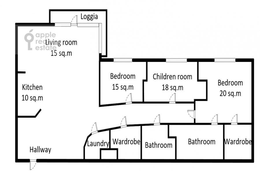 Floor plan of the 4-room apartment at Mosfil'movskaya ulitsa 70k3