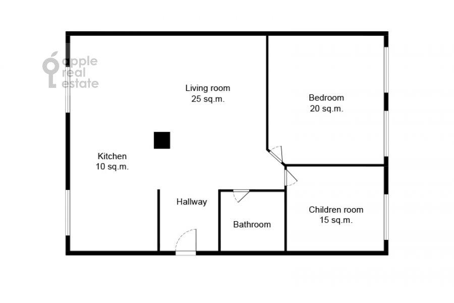 Floor plan of the 3-room apartment at Novoslobodskaya ul. 71