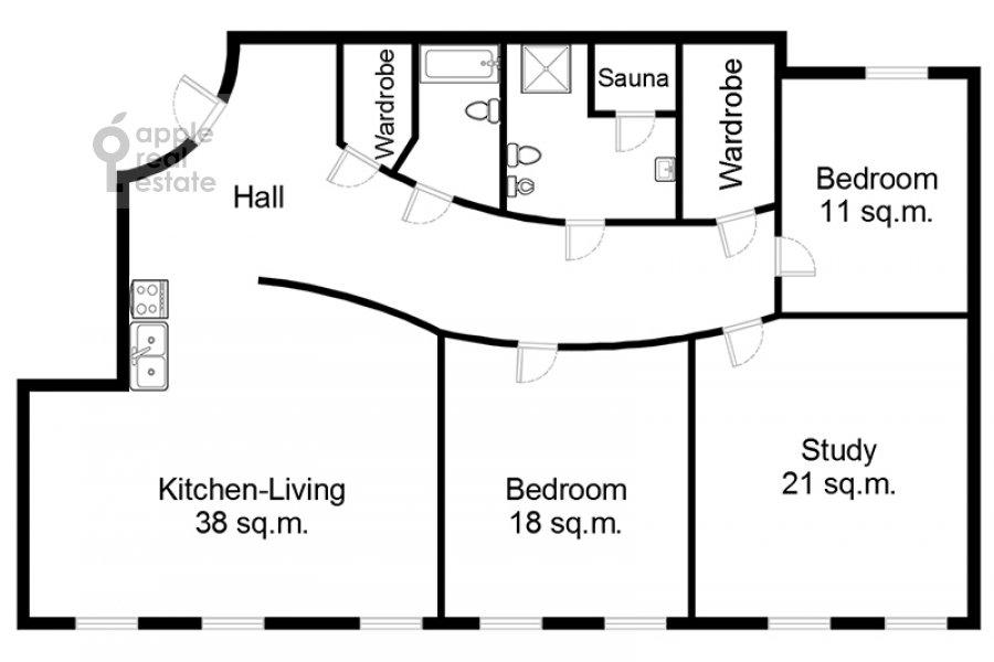 Floor plan of the 4-room apartment at Malaya Ordynka 13s1