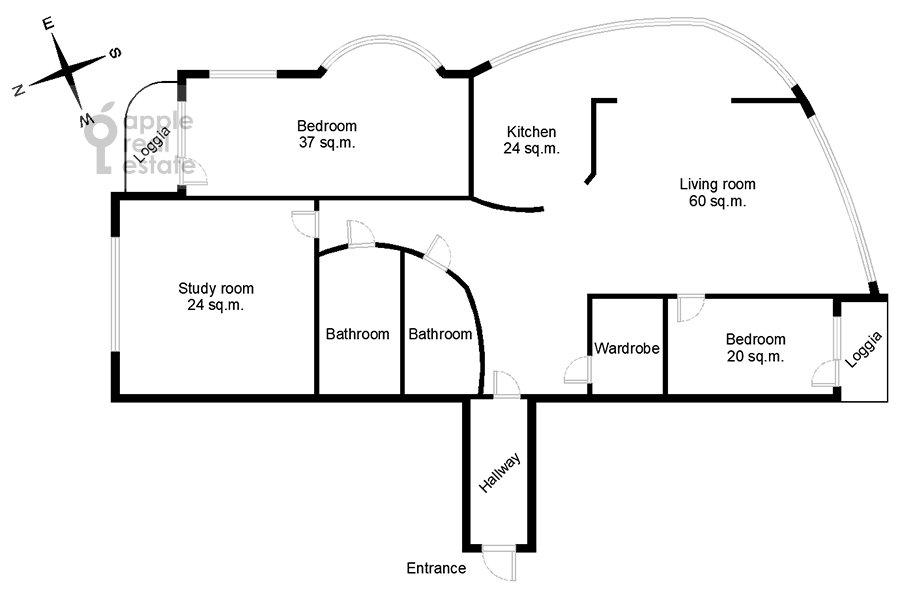 Floor plan of the 4-room apartment at Leninskiy prospekt 128k1