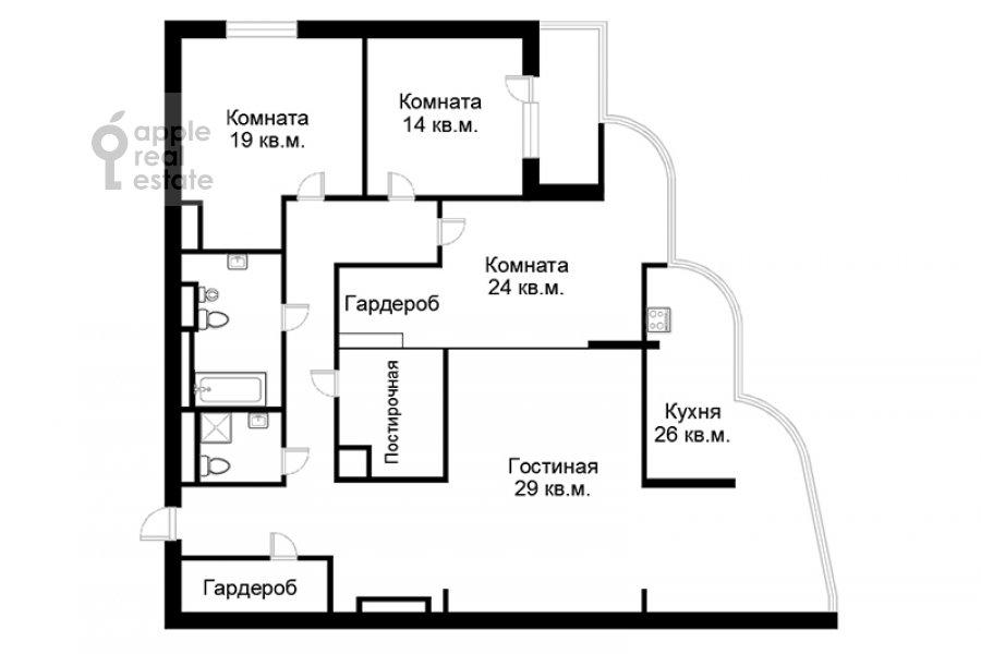 Floor plan of the 4-room apartment at Oktyabr'skiy pereulok 5