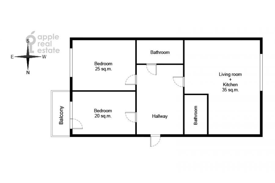 Floor plan of the 3-room apartment at Sovetskoy Armii 6