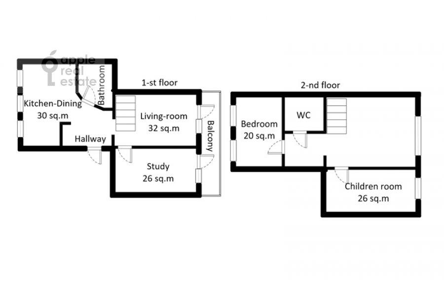 Поэтажный план 4-комнатной квартиры по адресу набережная Тараса Шевченко 1