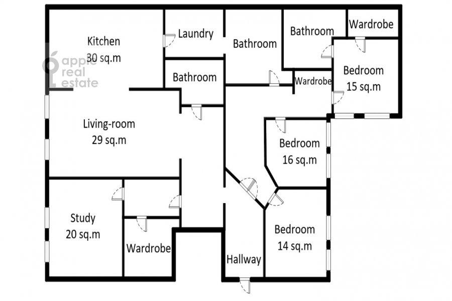 Floor plan of the 5-room apartment at Tverskaya ulitsa 27s1