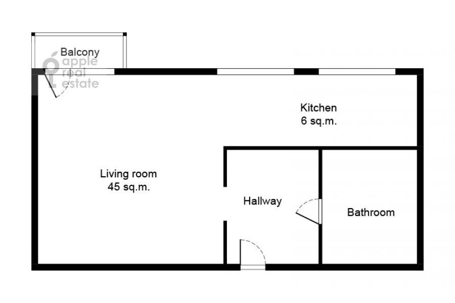 Поэтажный план квартиры-студии по адресу Серафимовича 2