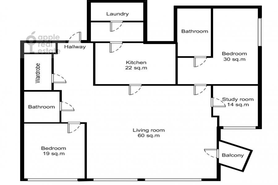 Floor plan of the 4-room apartment at Bryusov pereulok 19