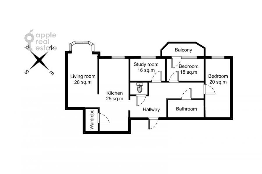 Floor plan of the 4-room apartment at 3-ya Tverskaya-Yamskaya ulitsa 44