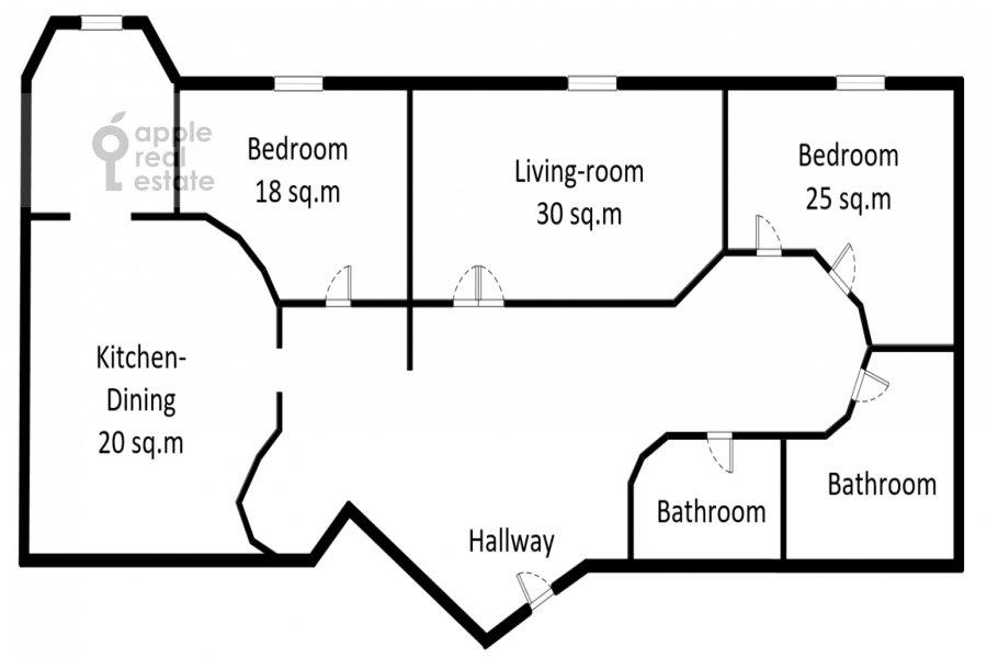 Floor plan of the 3-room apartment at Molodogvardeyskaya ulitsa 4k1