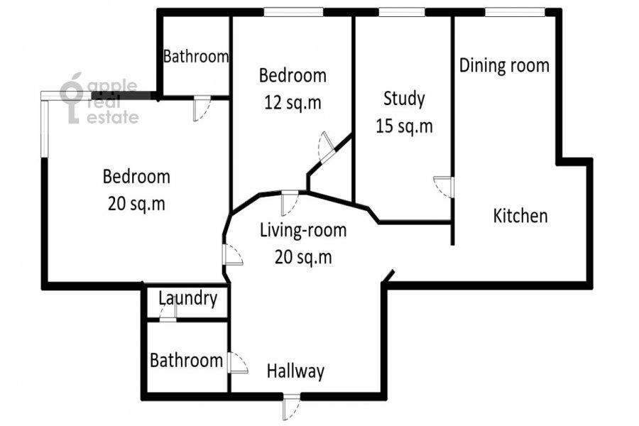 Floor plan of the 4-room apartment at Aviatsionnaya ulitsa 79V