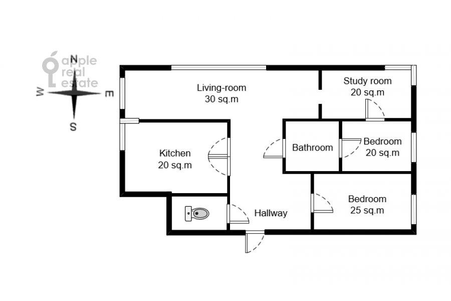 Floor plan of the 4-room apartment at Aviatsionnaya ulitsa 79A