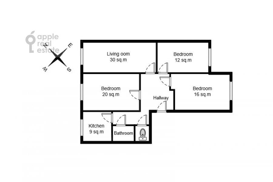 Поэтажный план 4-комнатной квартиры по адресу Гашека 9