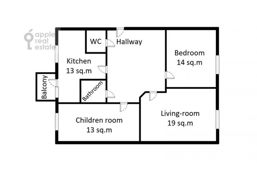 Поэтажный план 3-комнатной квартиры по адресу Крымский Вал 8