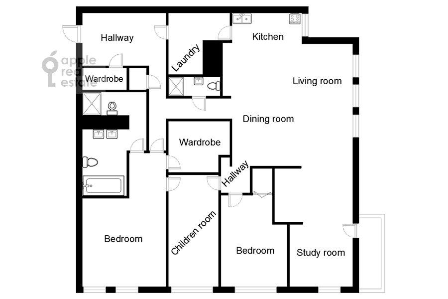 Floor plan of the 4-room apartment at Savvinskaya nab. 9