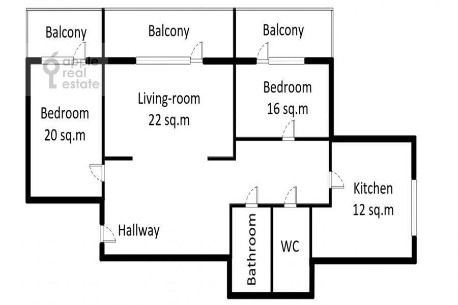Floor plan of the 3-room apartment at naberezhnaya Tarasa Shevchenko 3s3