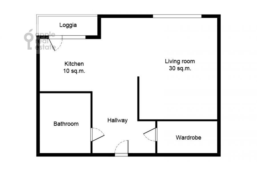 Поэтажный план квартиры-студии по адресу 2-я Черногрязская улица 6к3