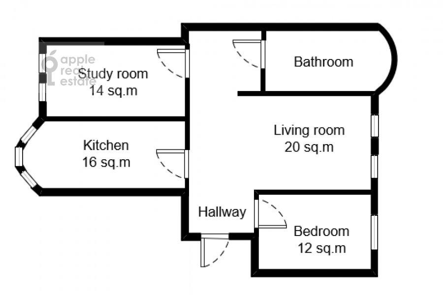 Поэтажный план 3-комнатной квартиры по адресу Щепкина 25/20
