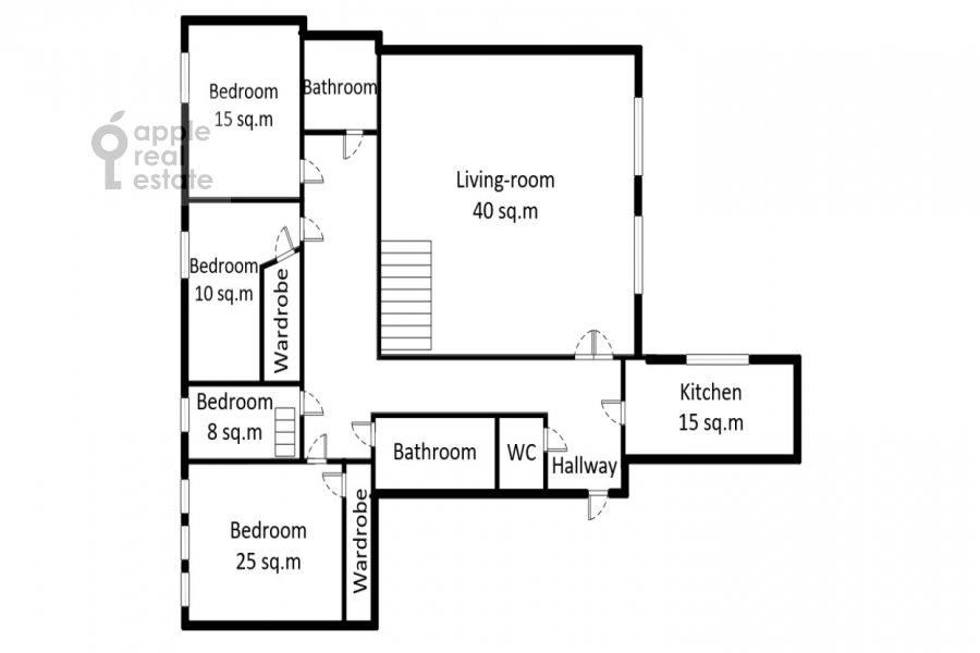 Floor plan of the 5-room apartment at Krivoarbatskiy pereulok 12