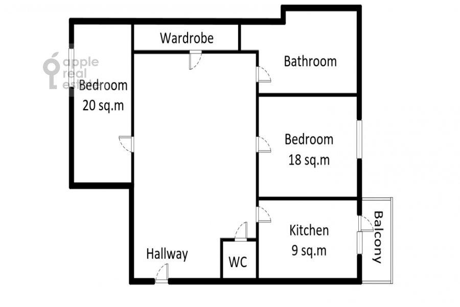 Floor plan of the 2-room apartment at Garibal'di 3