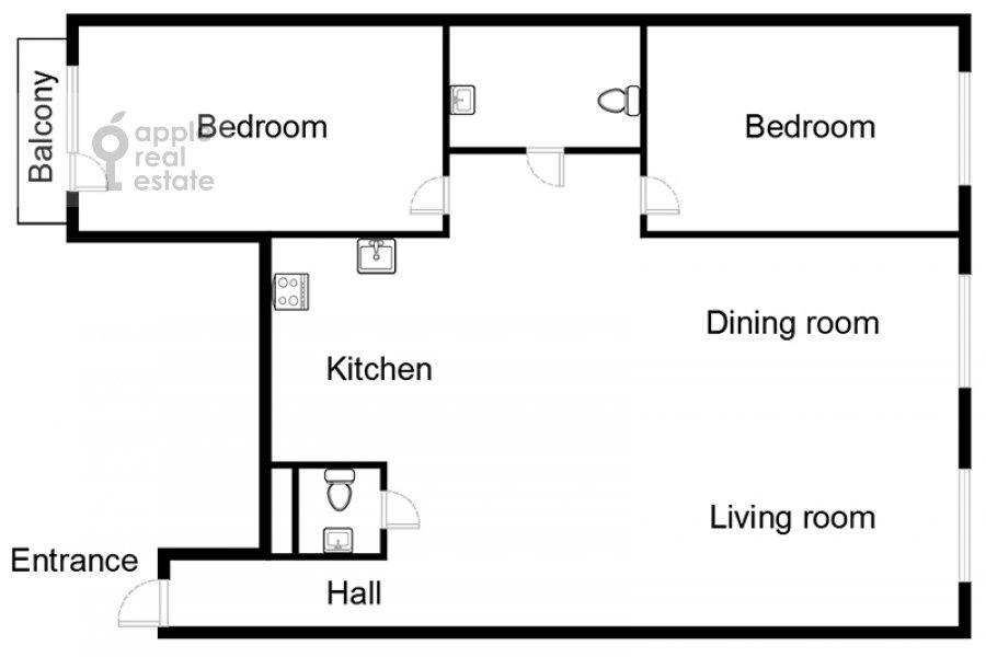 Floor plan of the 3-room apartment at Novinskiy bul'var 7