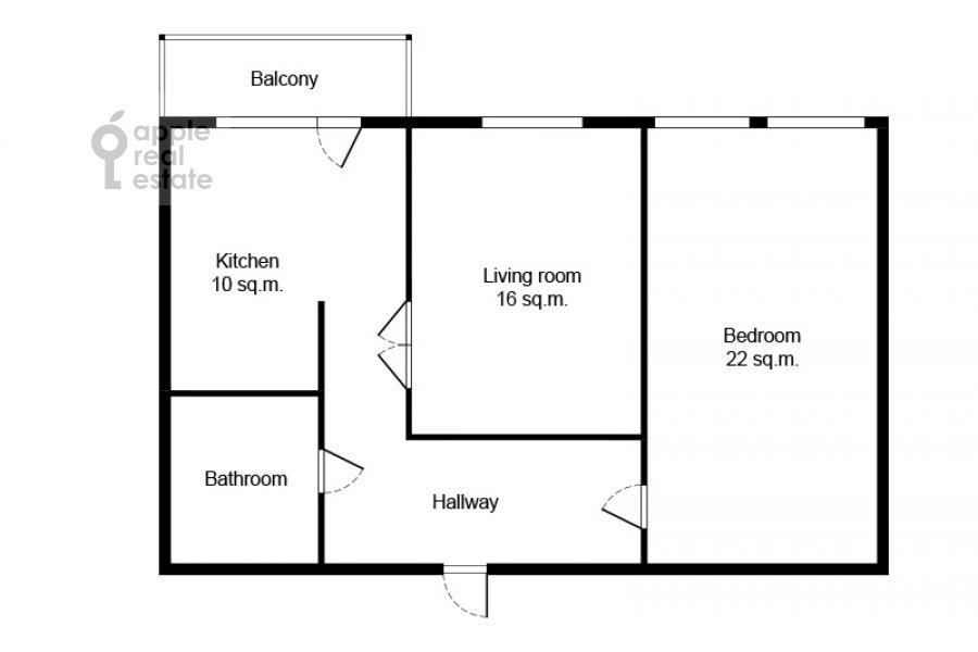 Floor plan of the 2-room apartment at Presnenskiy Val 14k4