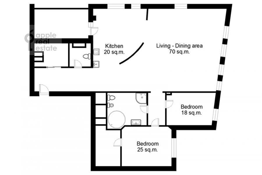 Floor plan of the 3-room apartment at Ermolaevskiy pereulok 16