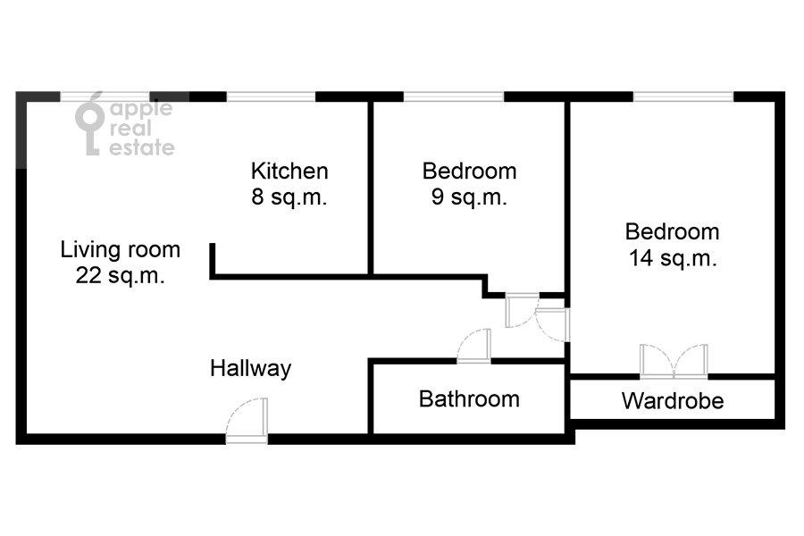 Floor plan of the 3-room apartment at Novyy Arbat ul. 16