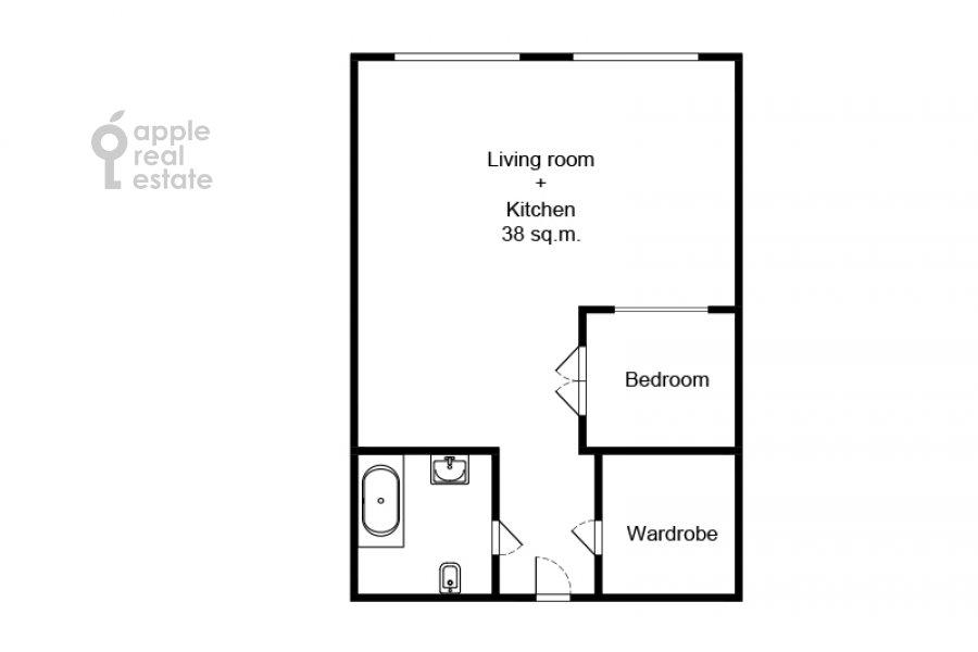 Floor plan of the studio apartment at Dukhovskoy per. 17s10