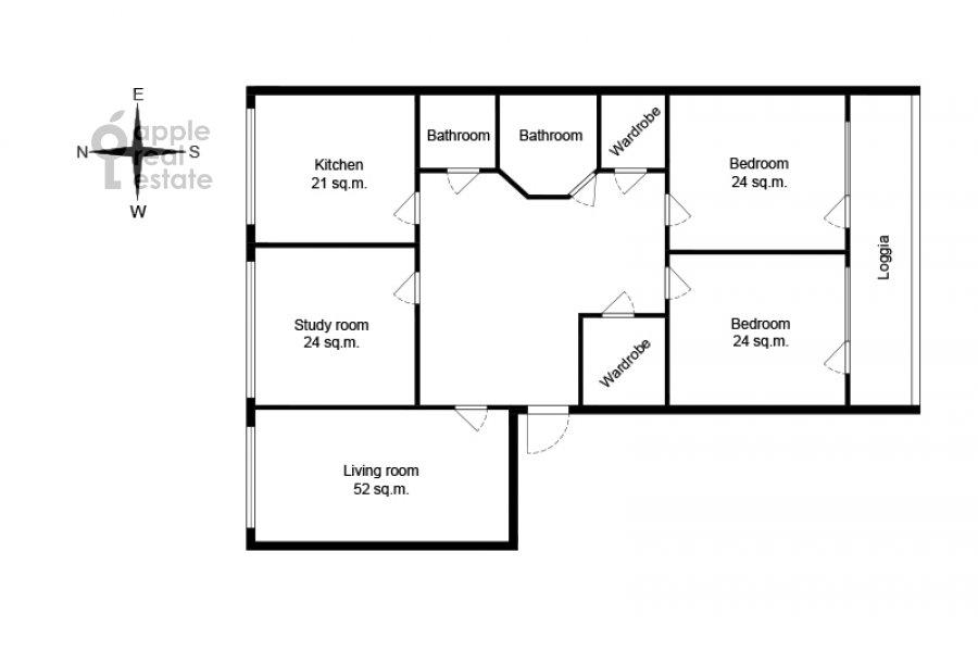 Floor plan of the 4-room apartment at Minskaya ulitsa 1gk2