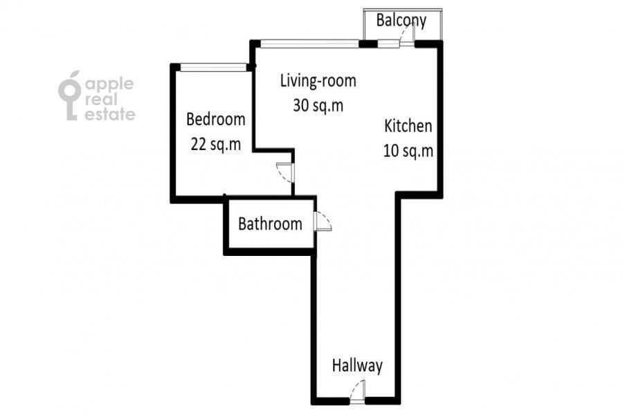 Floor plan of the 2-room apartment at Nezhinskaya ulitsa 1k3