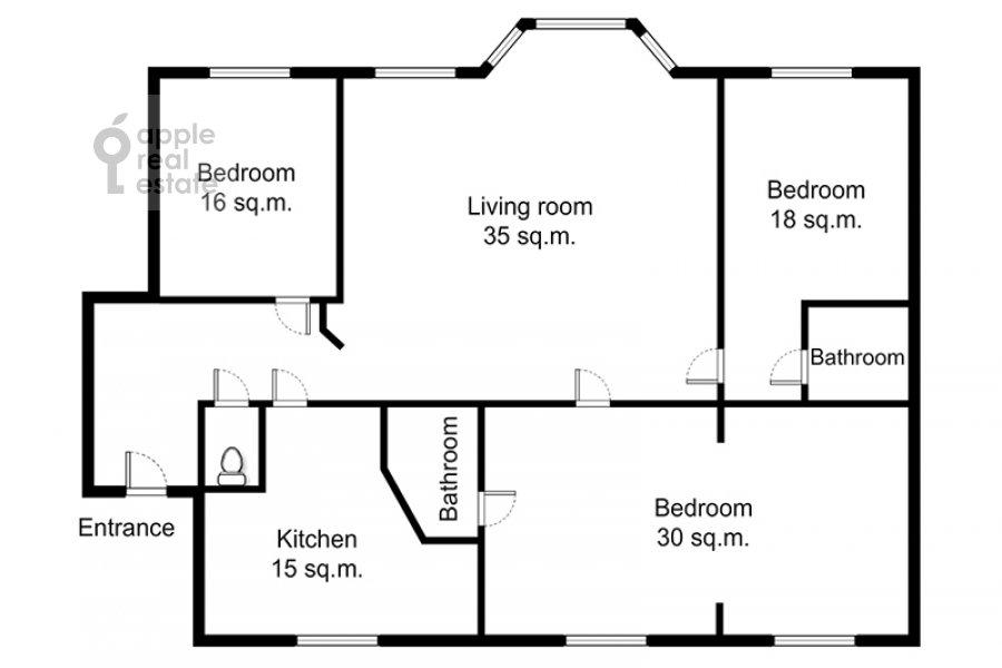 Floor plan of the 4-room apartment at ulitsa Znamenka 15
