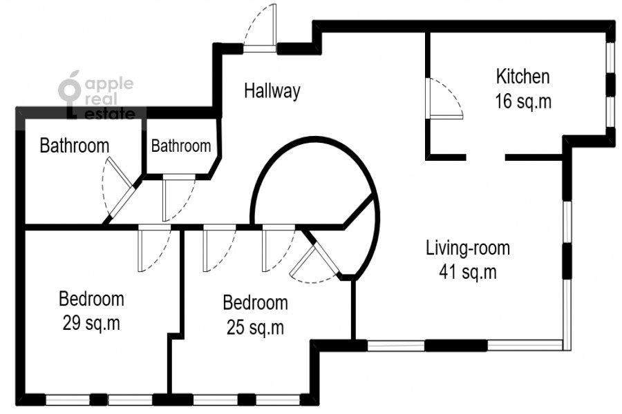 Поэтажный план 3-комнатной квартиры по адресу Авиационная улица 77