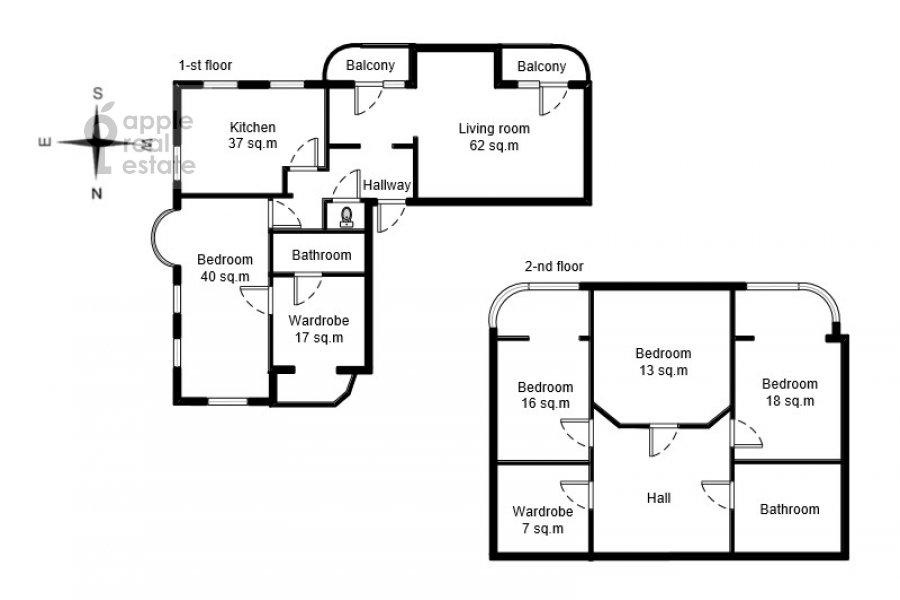 Floor plan of the 5-room apartment at Veskovskiy pereulok 2
